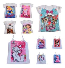 05 Camiseta Blusa Infantil Feminina Roupa Menina Atacado
