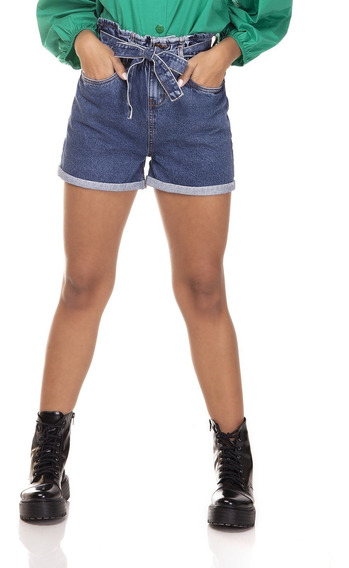 Shorts Jeans Denim Zero Mom Clochard Barra Dobrada-dz6382