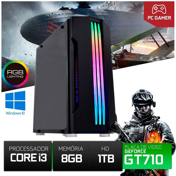 Computador Gamer I3 8gb 1000gb Placa Gt 710 2 Gb 12xs/ Juros
