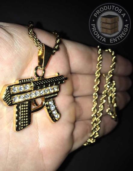 Corrente Uzi Ice Out Gold Cravejada Ouro 18k (promoção)