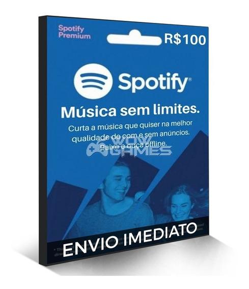 Cartão Spotify Premium - R$ 100 Reais - Assinatura 6 Mêses