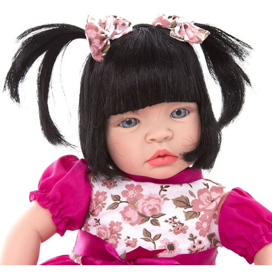 Boneca Baby Kiss Morena Menina Tipo Reborn Chora E Balbucia