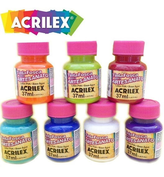 12x Tinta Para Artesanato Pva Acrilex 37ml (escolha As Cores