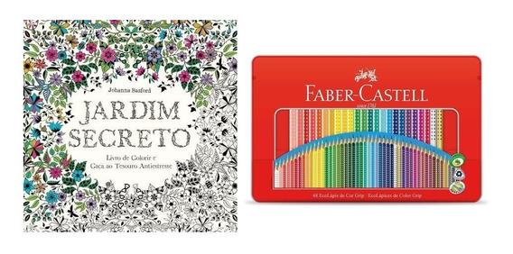 Kit Livro Jardim Secreto+ Lápis 48 Cores Lata Faber Castell