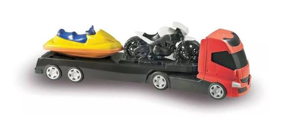 Caminhão De Brinquedo Com Jet Ski E Moto Esportiva