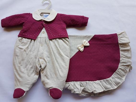 Saída Maternidade Malha Bebê Casaco Bordo