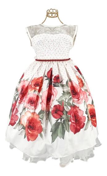Vestido Infantil Floral Branco E Vermelho Lindo 4 Ao 16