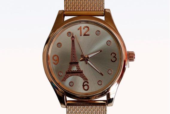 Relógio Feminino Dourado Paris Torre Eiffel Barato Luxo