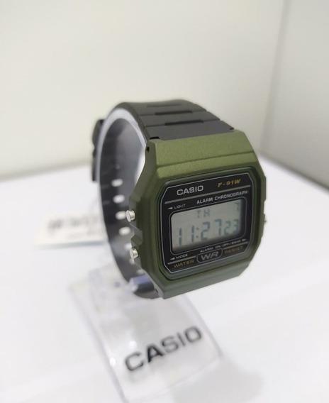 Relógio Casio Unissex Vintage Verde F-91wm-3adf