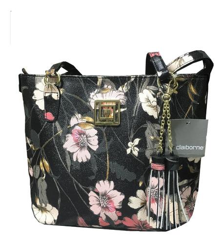 Imagen 1 de 1 de Bolsa Mujer Liz Claiborne Estampado Floral Negro Modelo