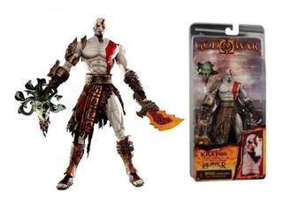 Kratos Neca In Golden Fleece Armor With Medusa Head