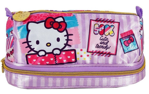 Estojo Escolar Xeryus Hello Kitty Washi Pink Duplo - 7885