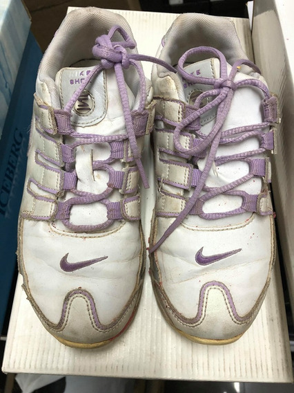 Tênis Nike Shox Nz Branco 31br Original Couro