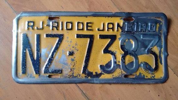Placa Amarela Carro Rj Opala Dodge Maverick Galaxie Fusca