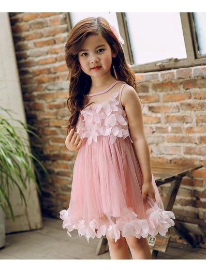 Vestido Infantil Festa Rosa Princesa Aniversário Casamento