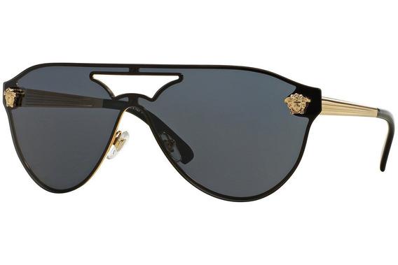 Lentes Versace Medusa Visor Black Gold Ve2161 Gafas Original