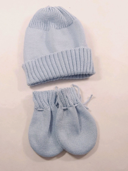 Kit Touca + Luva Em Trico Linha Para Bebês De 0 A 2m