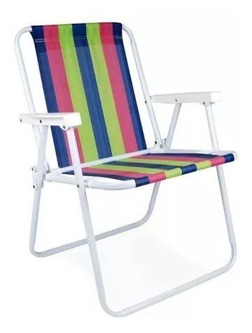 Cadeira Praia Aço Mor + Guarda-sol Aço + Esteira +saca Areia