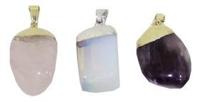 Kit Com 3 Pingentes: Ametista, Pedra Da Lua E Quarto Rosa