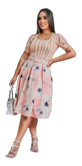 Vestido Midi Godê Princesa Com Cinto Moda Evangélica Modesto