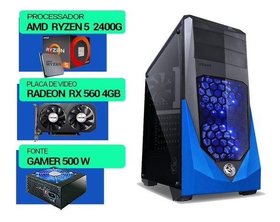Pc Gamer Ryzen 5 2400g, Hd500gb, Vga Rx560 4gb, 8gb Ddr4