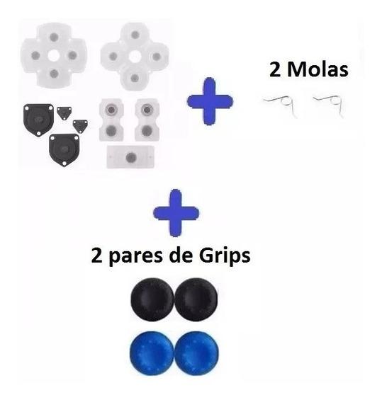 Borrachas Controle Ps4 + 2 Molas + 2 Pares De Grips