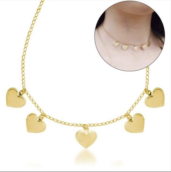 Colar Choker Feminino Coração Banhado Ouro 18k