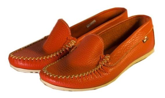 Zapatos Nauticos Naranja 0024 Mujer Divinos Nuevos Oferta!!!