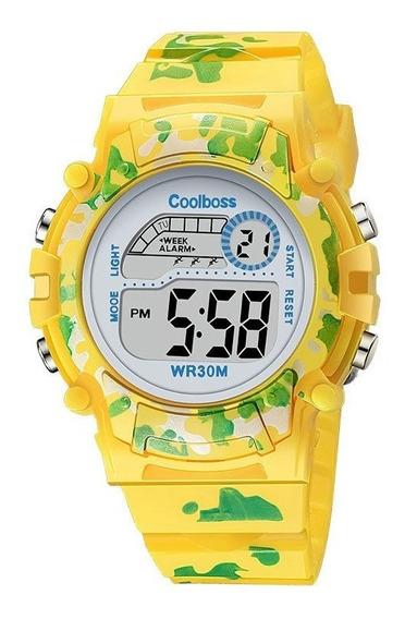 Relógio Digital Infantil Coolbos 4 Cores Diferentes Alarme