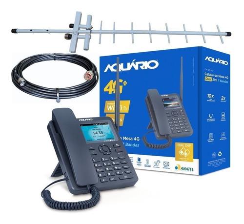 Kit Telefone Rural Celular 4g Lte Wi-fi Ca-42s 4g Cabo 15m