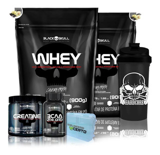 Kit 2x Whey Protein 900g + Bcaa + Creatina + Coq Black Skul