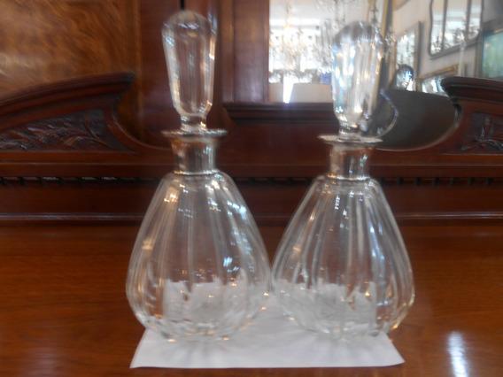 Antiguos Perfumeros De Cristal Virola De Plata 925 Impecable
