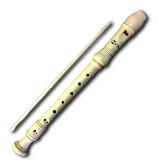 Flauta Doce Soprano Barroca + Limpador E Bag Spring Sg-flb