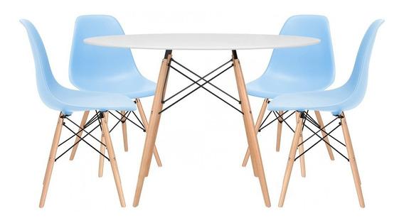 Kit Jantar Eames Mesa 120 Cm 4 Cadeiras Eiffel Várias Cores