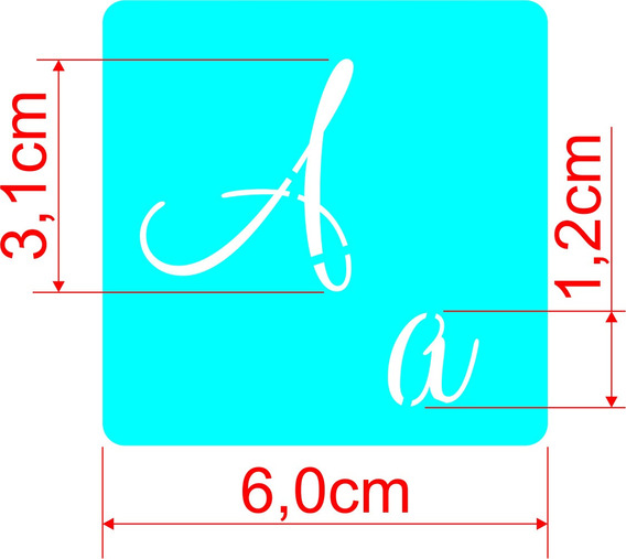 Molde Vazado Stencil Alfabeto Abecedário Letras Números 6x6