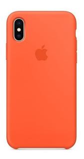 Carcasa Funda De Silicona Para iPhone X Naranja
