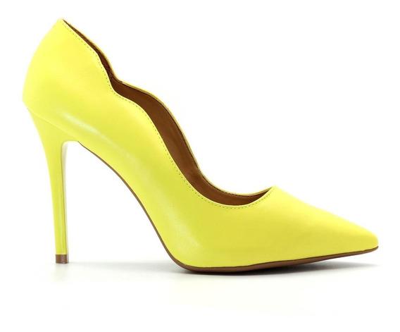 Scarpin Royalz Curvas Liso Salto Alto Fino Amarelo