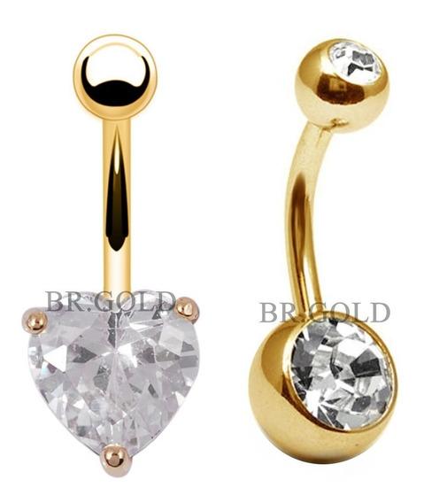 Piercings De Umbigo Coração + Bola C/ Pedras Banhados A Ouro