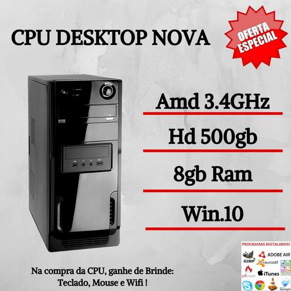 Cpu Montada Star 8gb Ram Hd 500gb Win10 Teclado E Mouse