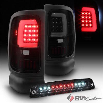 Smoke LED 3rd Brake Lamp 94-02 2//3500 Smoked Tail Lights For 94-01 Ram 1500
