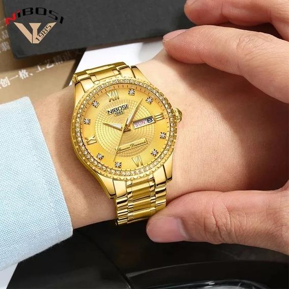Relógio Nibosi - Original Dourado Com Brilhantes Promoção