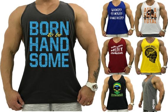 Kit 7 Regatas Masculina Cavada Academia Estampadas Camisetas