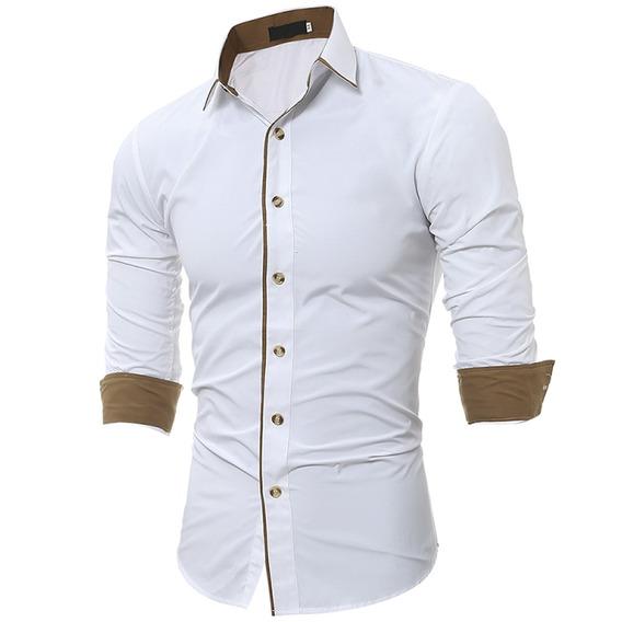 Camisa Ribete Color Bloque Collar Redondo