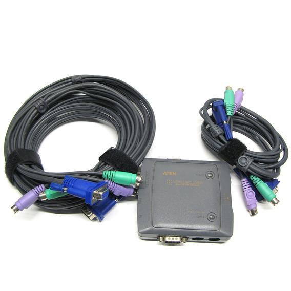 Switch Kvm De 2 Puertos Ps/2 Aten Cs-912 Con Cables 1,2 Y 5m