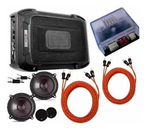 Caixa Slim + Kit 2 Vias 5 + Módulo Amplificador Rca + Cabos