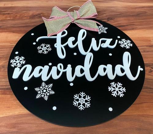 Imagen 1 de 9 de Colgante Para Puerta Navideño, Personalizado 40cm, Navidad