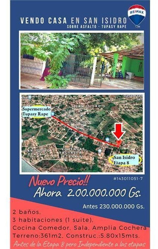 Vendo Casa En El Barrio San Isidro: 3 Habitaciones Y 2 Baños