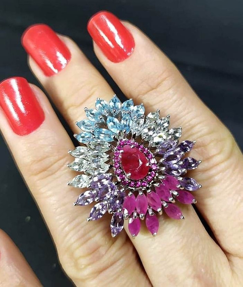 Di1-anel Prata 925 Rubi Ametista Topazio Praziolita Ametisa Verde Zirconias Pink Rodio Kessel