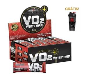 Vo2 Whey Protein Bar 24un Integralmédica + Coqueteleira