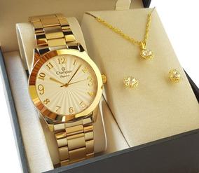 Relógio Champion Dourado Original Cn26564w + Colar E Brincos